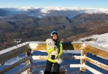 Coronter Peak view with mascot Oscar