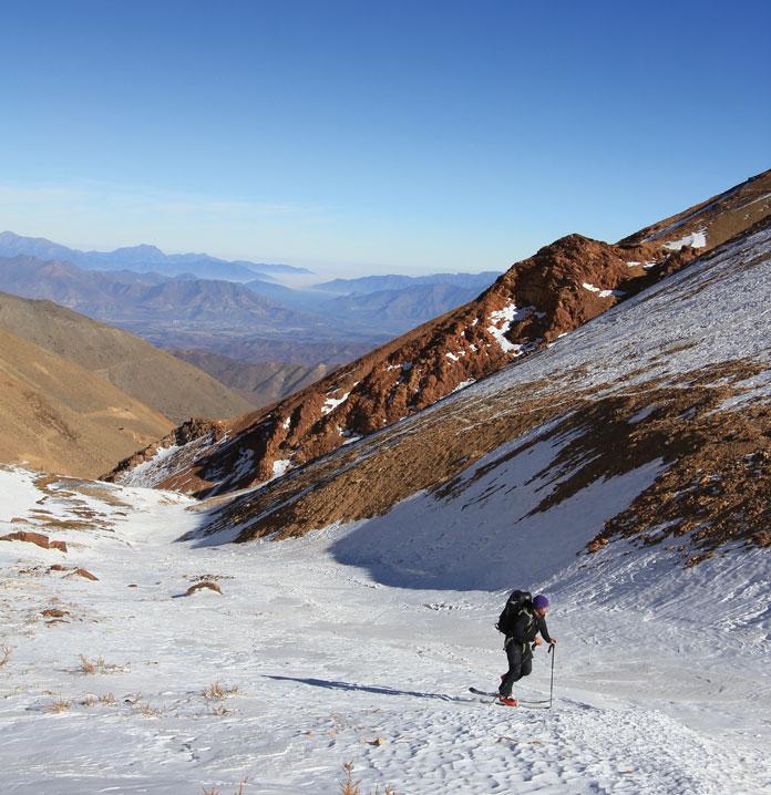 Skinning up at Ski Arpa