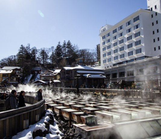 Yubotake Hot Springs Field at Kusatsu Onsen