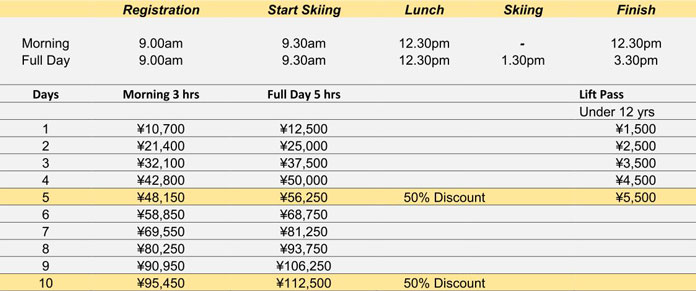 ction Snow Sports Madarao Kamuska Kids Rates 2018-2019