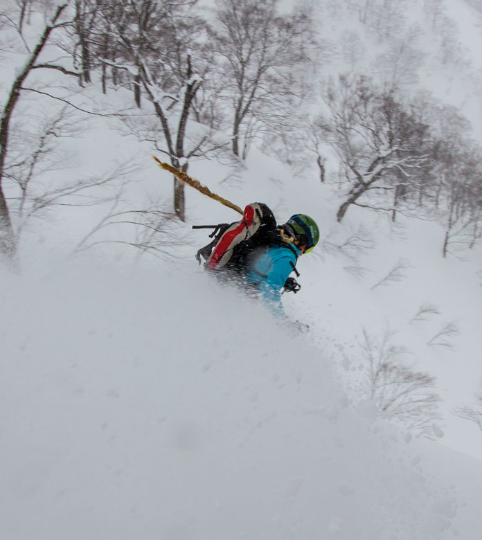 steep tree skiing Tenjindaira