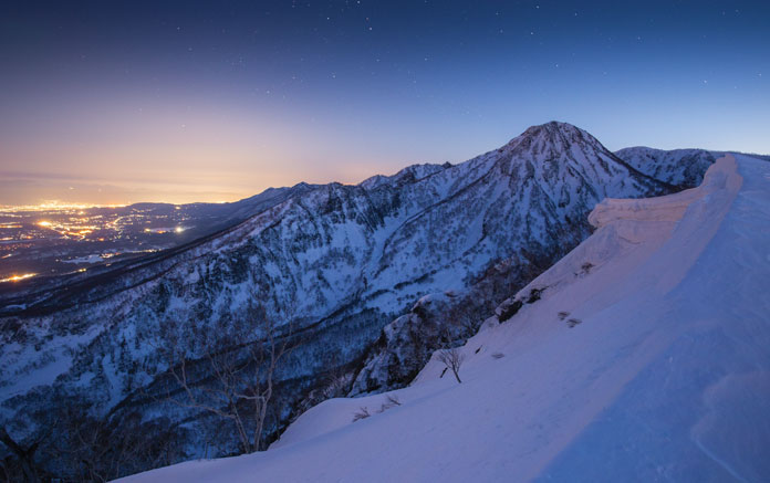night views from top of Myoko Kogen Grand Traverse