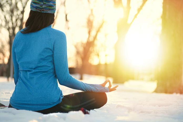 Meditating on snow as part of the new Jackson Hole Mindful Camp