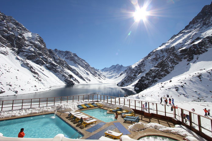 The amazing view of Laguna del Inca from poolside at Hotel Portillo