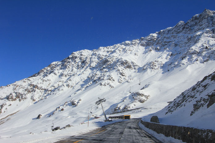 Driving up to Portillo through the snow shed tunnels on the pass