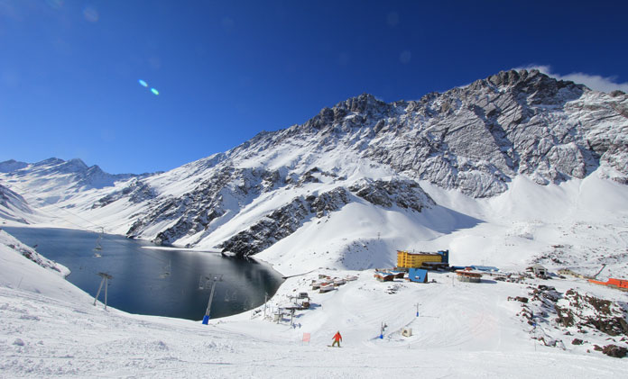 Views from the wide open groomed slopes at Portillo