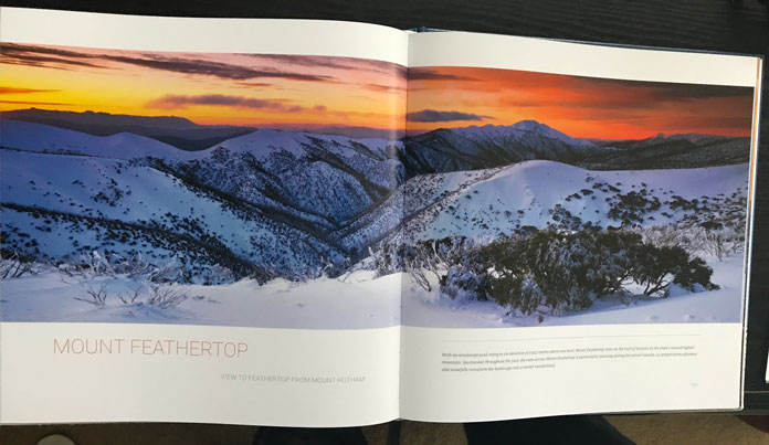 Mount Feathertop double page image spread from Alpine Australia book