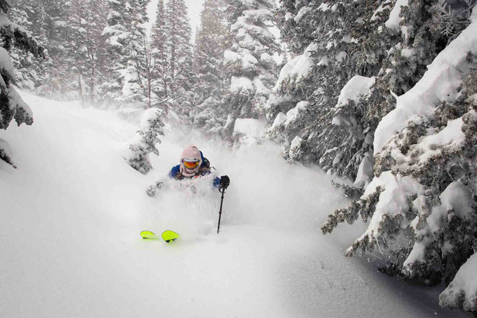 Lynsey Dyer enjoys the record February at Jackson Hole Mountain Resort