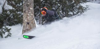 Owain Price road testing the high altitude powder at Marunuma Kogen , Kataashina, Gunma