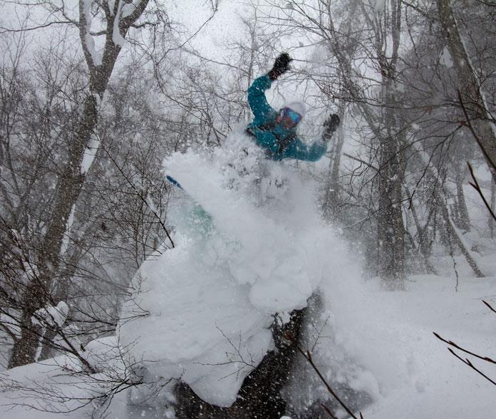 snowboarding trees at Okutone Snow Park