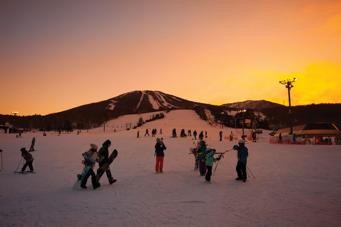 Sunset at Appi as night skiing gets underway