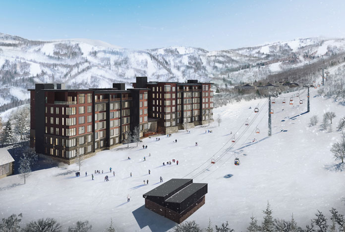 artists impression of the new Yu Kiroro condominiums and lift line at Kiroro