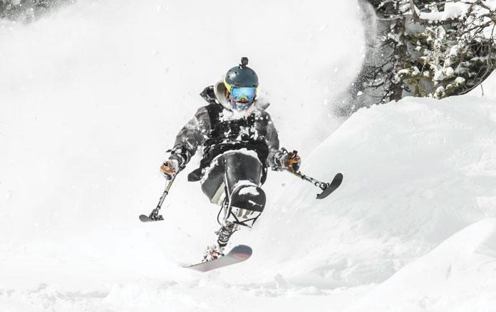 Trevor Kennison freeskiing Jackson Hole on a big powder day