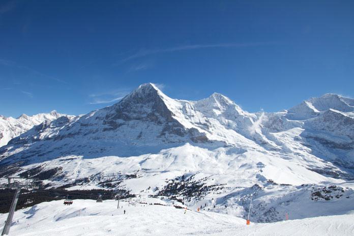 View of the slopes above Kleine Scheidegg towards the Eiger