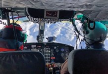 Cockpit view at Mike Wiegele Heliskiing