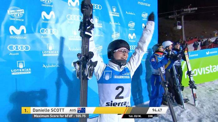 Danielle Scott celebrates great jump