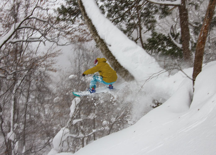 Slashing trees at Okutone Snow Park Minakami using a JR East Nagano Niigata Pass