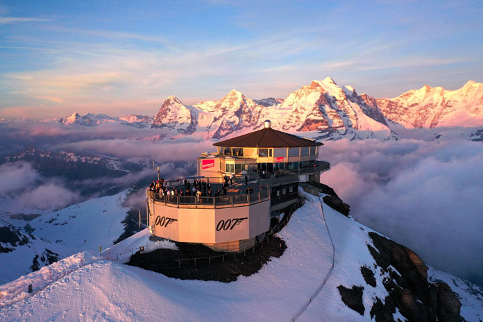 Sunset over Schilthorn Piz Gloria