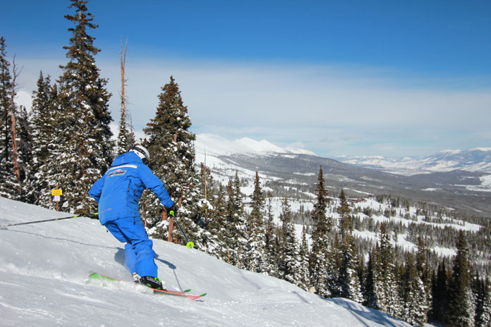 Skiing with instructor at Breckenridge
