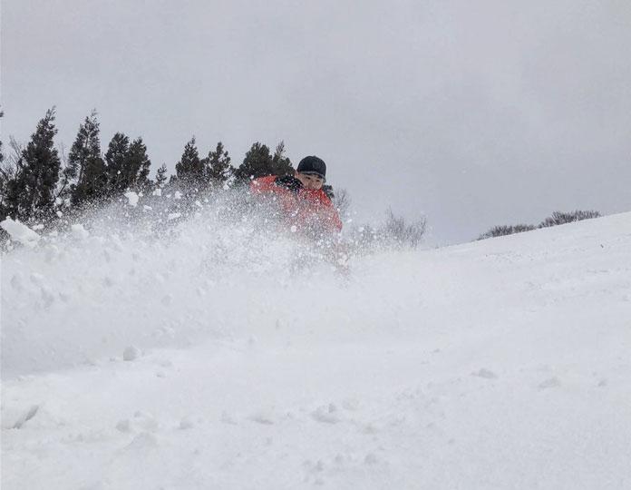 Powder skiing at Taira ski area, Nanto City