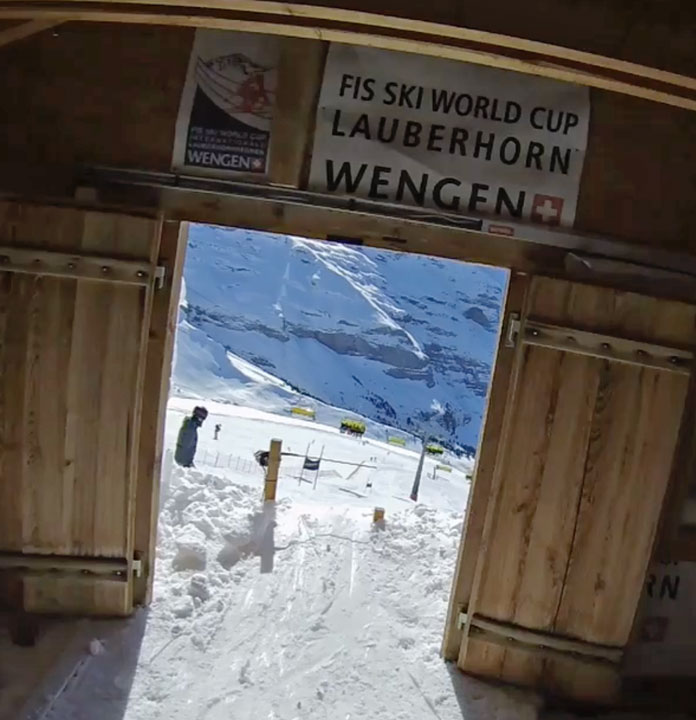 Inside the start gate of the Lauberhorn race