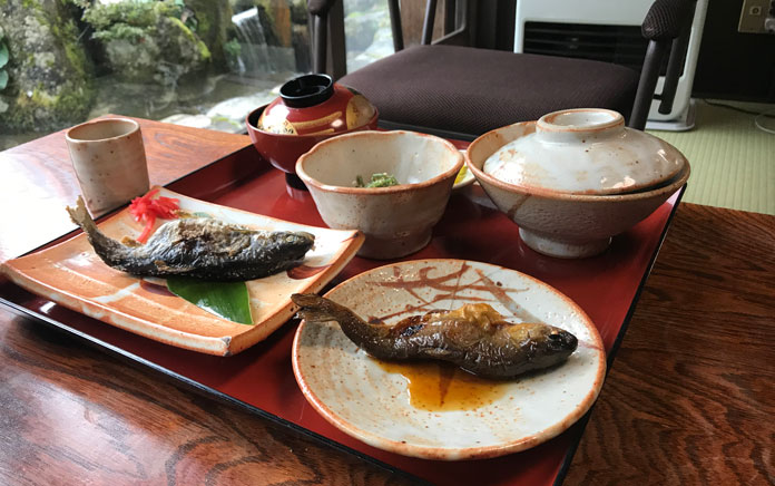 Local river fish lunch at Shirakawago