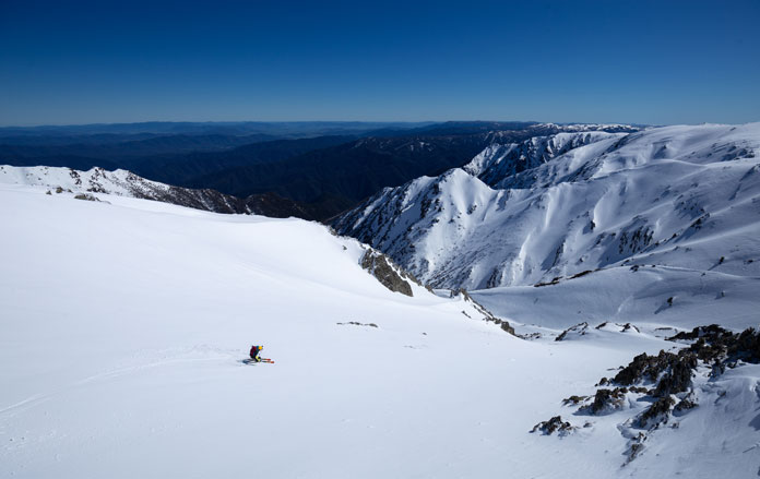October ski line in Carruther's Chute on the Main Range, Kosciuszko National Park