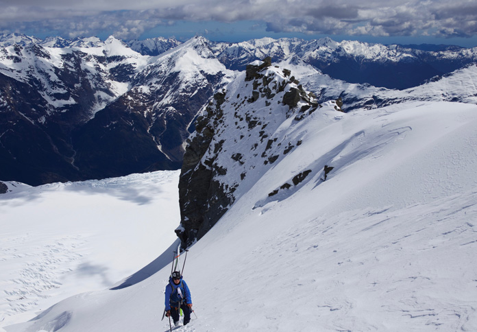 Near the top of 'The Ramp' to the North West Ridge of Mt Aspiring