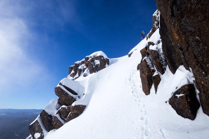 Hiking to ski peak at Cradle Mountain