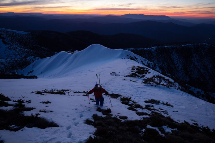 Hiking out of Mt Feathertop's North Face at dusk