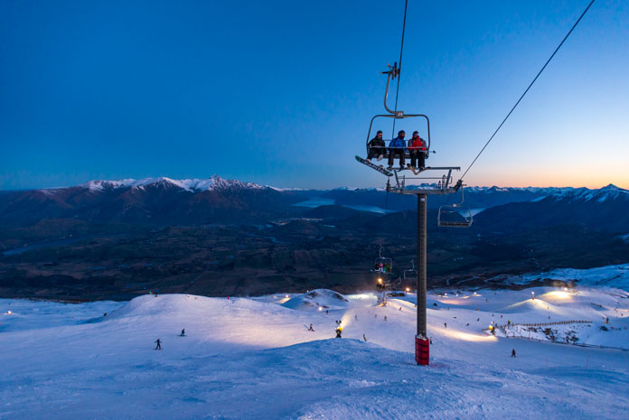 Sundown view from Coronet peak to The Remarkables