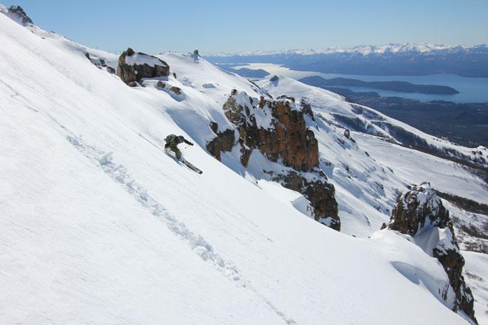 Skiing above rock spires, La Laguna, Bariloche sidecountry