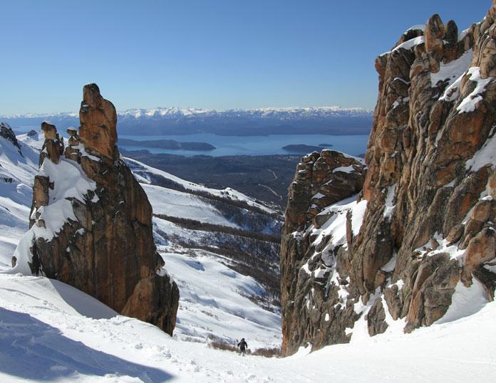 Backcountry skiing between granite pilars La Laguna, Bariloche