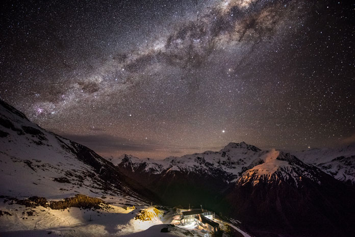 Night view of Milky Way from Temple Basin ski field