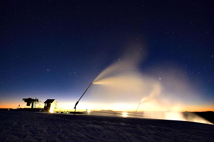 Night snowmaking at Mt Buller
