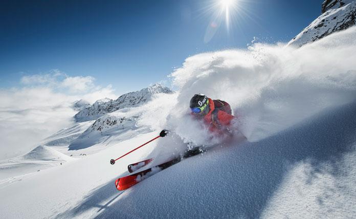 Powder skiing Stubai Glacier