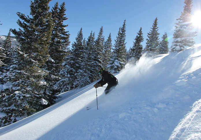 Side country powder skiing at Vail days after the storm