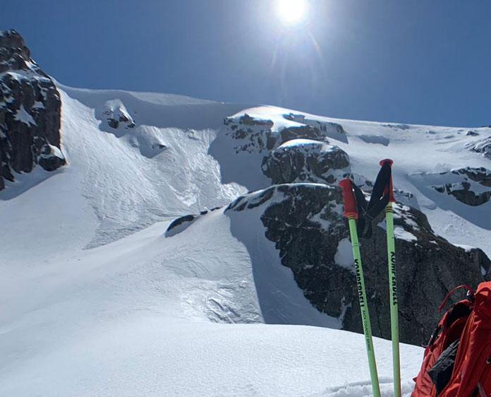 Fresh avalanche at Blue Lake