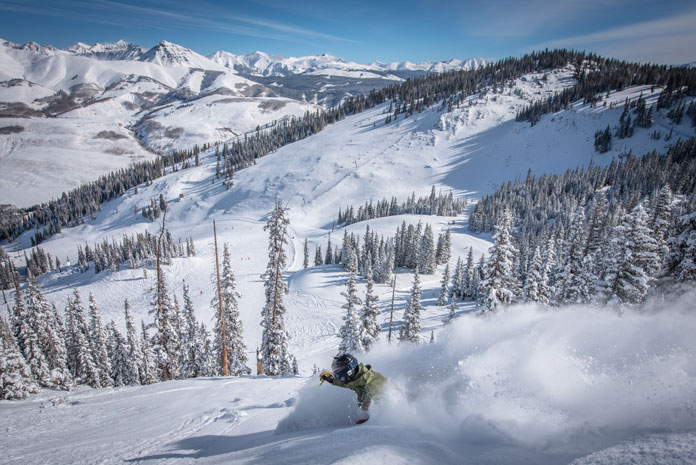 Dropping Headwall at Crested Butte on a pow day