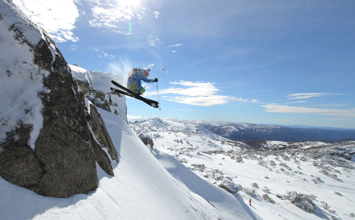 Getting air on Black Diamond Route 95 skis at Perisher