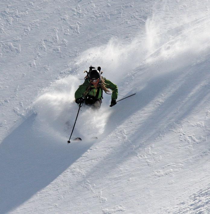 Dave Enright skiing powder below Mt Karamatsu