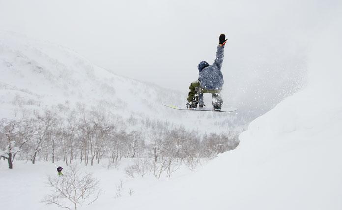 Snowboarding the trees at Asahidake, Hokkaido