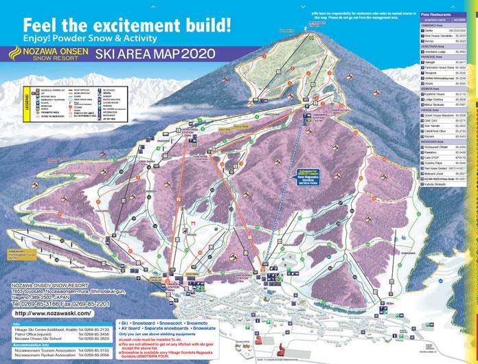 2020-21 Nozawa Onsen Trail Map showing new Nagasaka Gondola