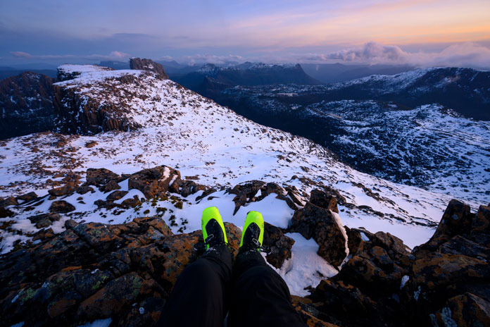 Du Cane range Tasmanian wilderness sunrise testing the Roxa RX Tour back country ski boots