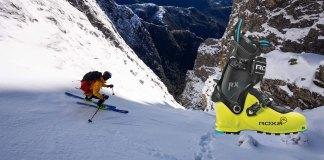 Steep couloir testing the ROXA RX Tour ski boots in Tasmania