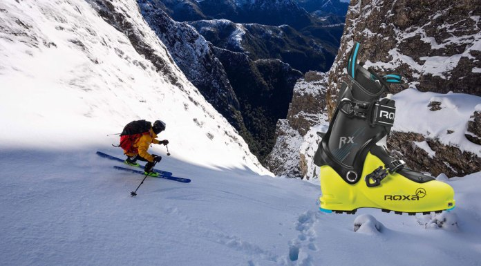 Steep couloir testing the ROXA RX Tour ski boots in Tasmania