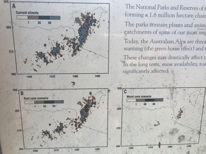 CSIRO predictions for snow cover in 2070 at Mt Franklin and across SE Australia