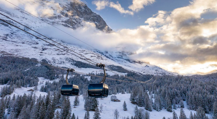 New Eiger Express lift at Grindelwald opening day December 5, 2020