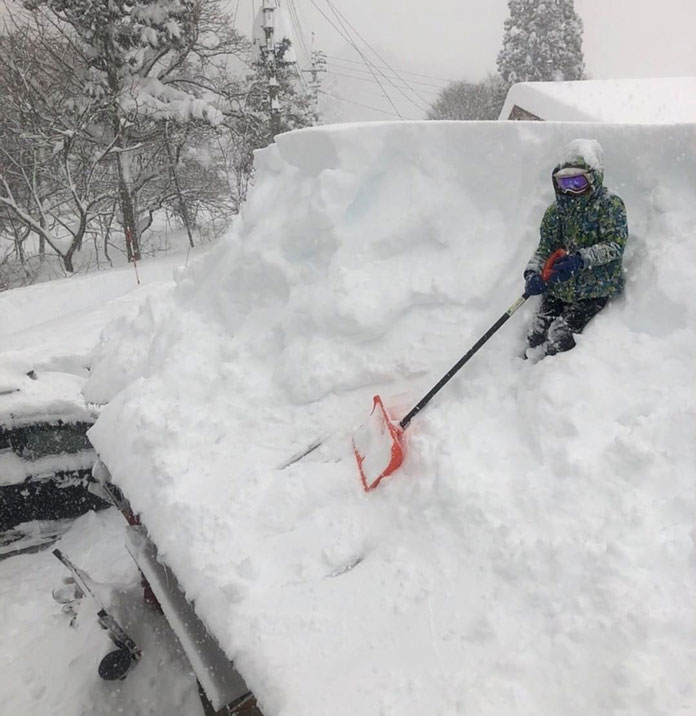 Snow clearing after record 72 hours snowstorm in Minakami, Gunma Japan