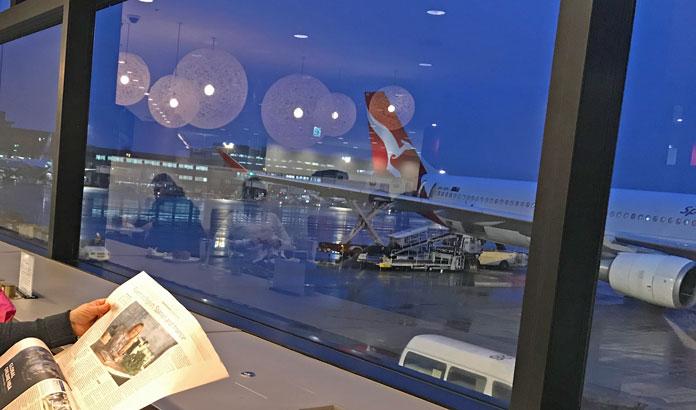Waiting for Qantas flight at Narita